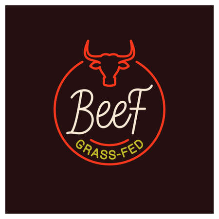 Beef  . Round linear of grass fed beef on black  イラスト・ベクター素材