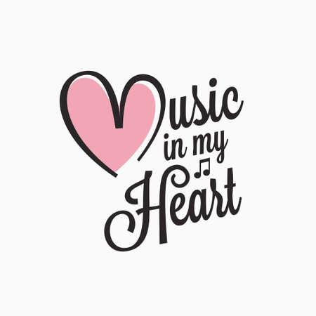 Music vintage lettering. Music in my heart sign Foto de archivo - 134858252