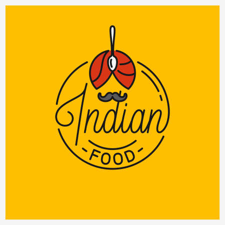 Indian Food. Round linear of Indian turban Illustration