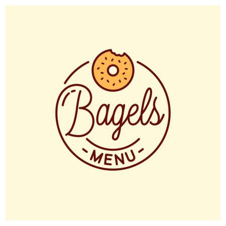 Bagel menu design. Round linear of bagel bakery Фото со стока - 138030573
