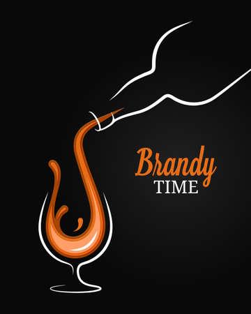 Brandy or cognac splash. Bottle with glass Ilustração
