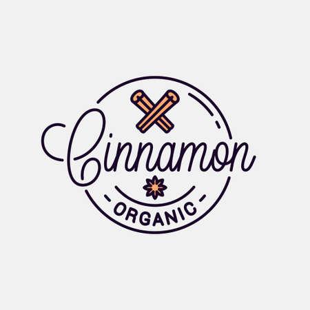 Cinnamon icon. Round linear icon of cinnamon stick