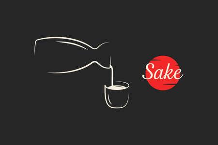 Sake emblem. Bottle and sake cup pour on black
