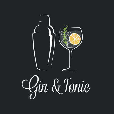 Gin tonic cocktail logo. Shaker with glass of gin