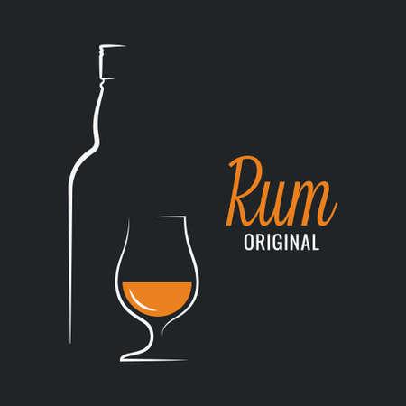 Rum bottle with rum glass logo on black background Ilustração