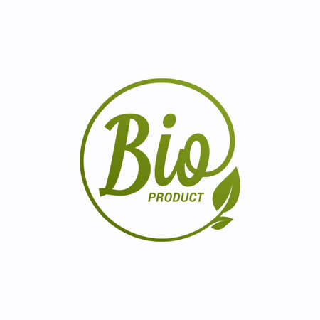 Bio product design. Bio icon with leaf on white