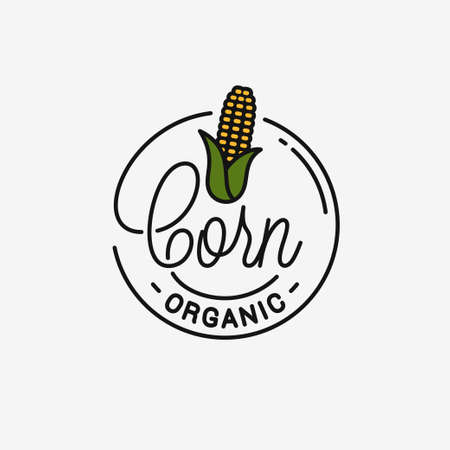 Corn maize icon. Round linear icon of corn