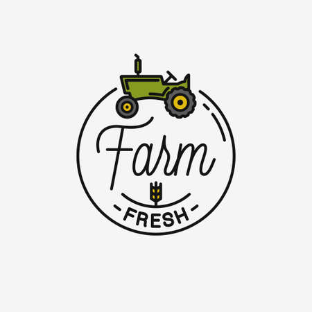 Farm fresh icon. Round linear icon of farm tractor