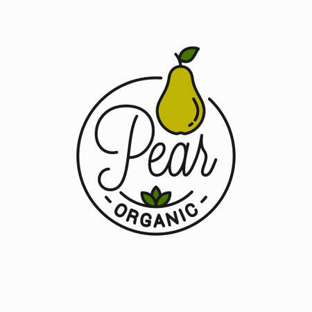 Pear fruit emblem. Round linear design of pear Illustration