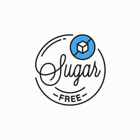 Sugar free emblem. Round linear emblem of sugar
