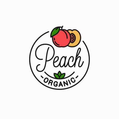 Peach fruit. Linear of peach slice background
