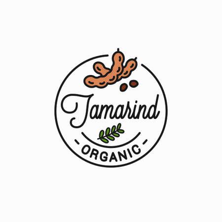 Tamarind fruit. Round linear on white Reklamní fotografie - 140641979
