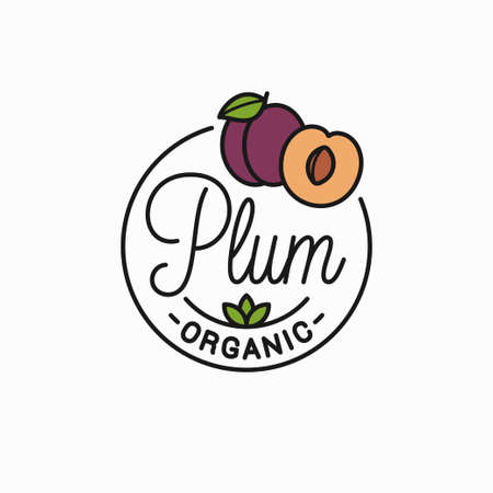 Plum fruit emblem. Round linear emblem of plum slice on white background