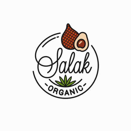 Salak fruit emblem. Round linear emblem of snake fruit slice on white background