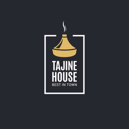 Tajine or tagine emblem on black background Illustration