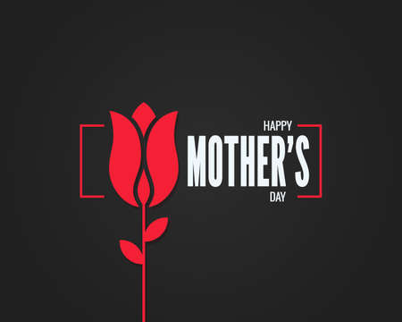 Mothers day logo. Mothers day flower on black Illustration