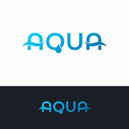 Aqua water logo on white and black