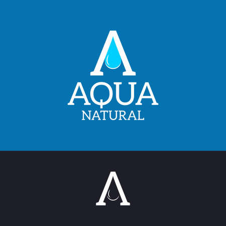 Aqua water logo. Letter A drop on blue and black