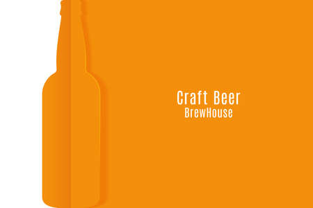 Craft beer banner. Cut paper beer bottle vector