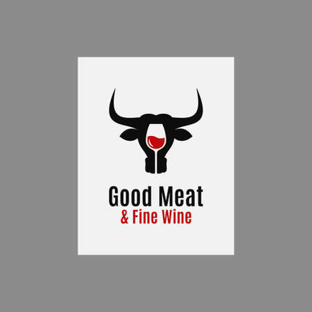 Meat and wine logo. Wine with bull head on white