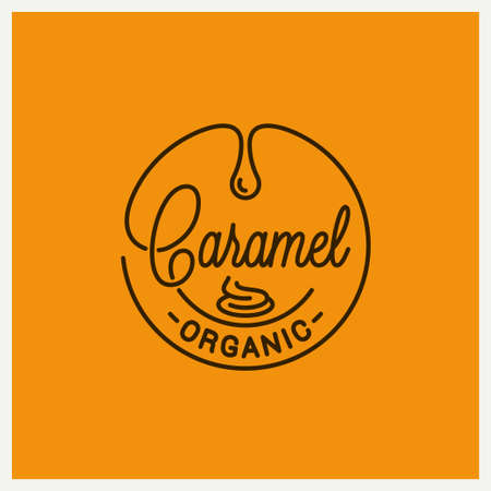 Caramel logo. Round linear of caramel on orange Illustration