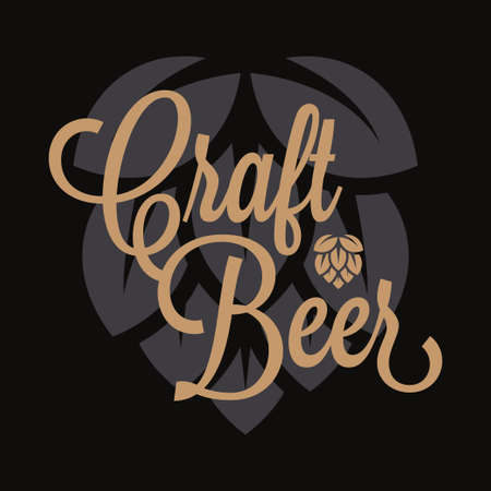 Craft beer logo. Beer hop lettering on black