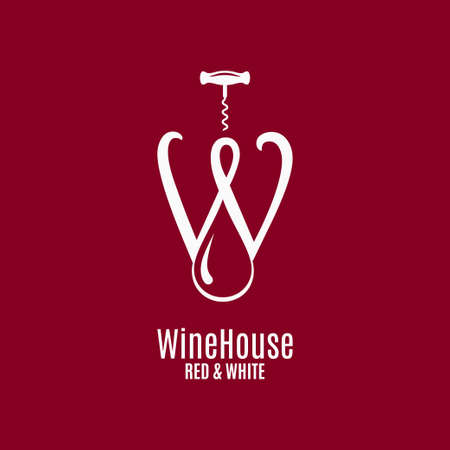 Wine house Letter W of red and white wine Illustration