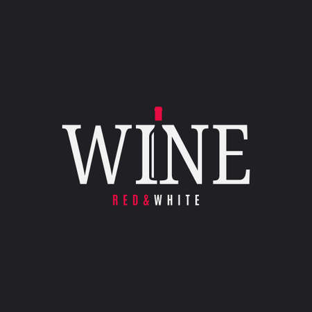 Wine logo with wine bottle on black