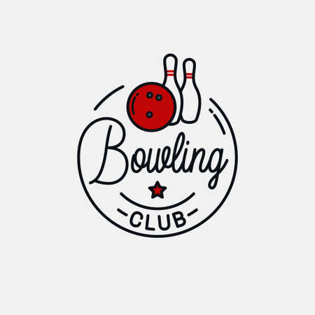 Round linear logo of bowling pins on white