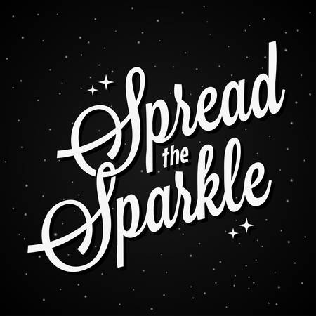 Spread the sparkle lettering on dark background 10 eps