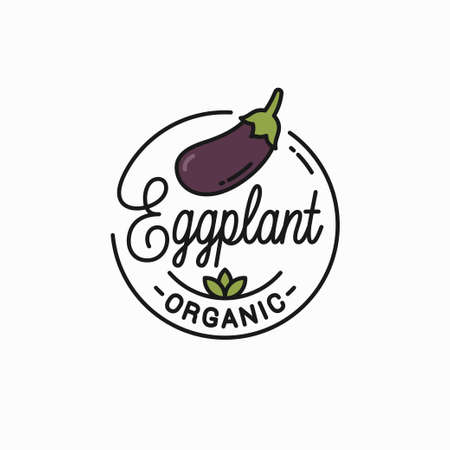 Round linear of eggplant on white Illustration
