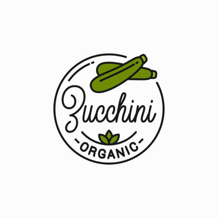Zucchini vegetable symbol. Round linear symbol fresh Illustration