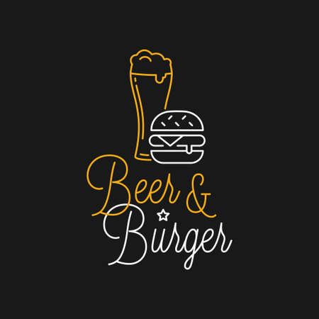Beer and burger linear . Beer glass lettering