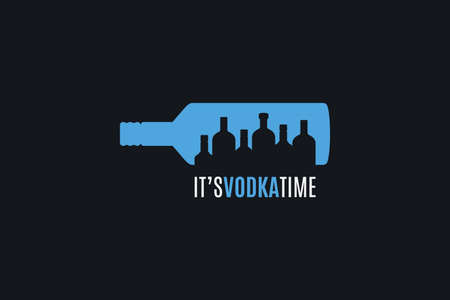 Vodka time . Vodka bottle on black background Illustration