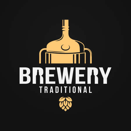 Beer logo with brewery tank and beer bottle