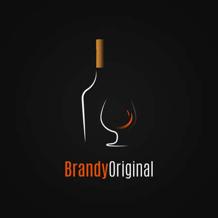 Brandy or whiskey logo. Brandy bottle and glass