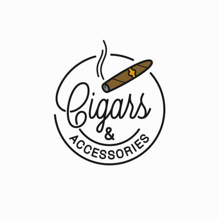 Cigars and accessories sign. Round linear of cigar