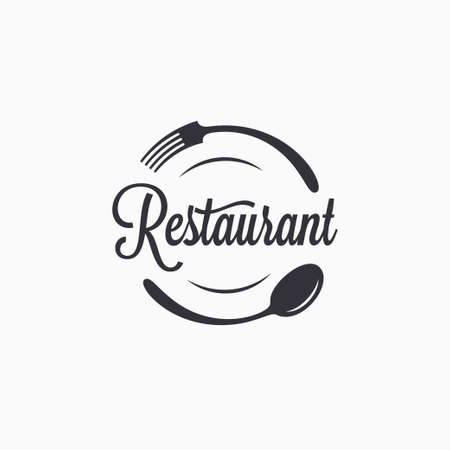 Plate with fork and spoon. Restaurant logo Logo
