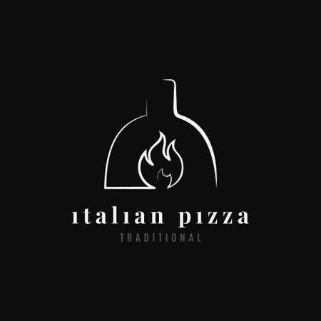 Italian pizza logo. Pizza oven on black background