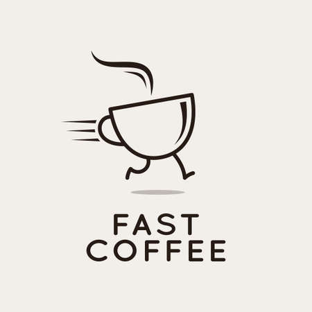 Fast coffee . Running coffee cup on white