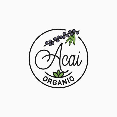 Acai branch  Round linear of acai superfood