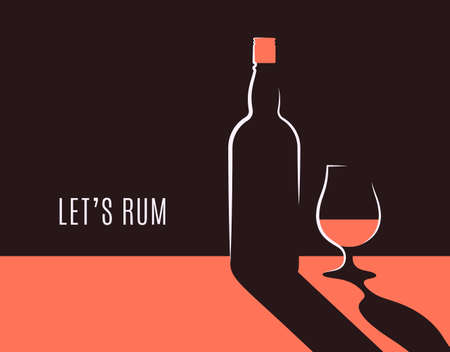 Rum bottle banner. Glass of rum vector background  イラスト・ベクター素材