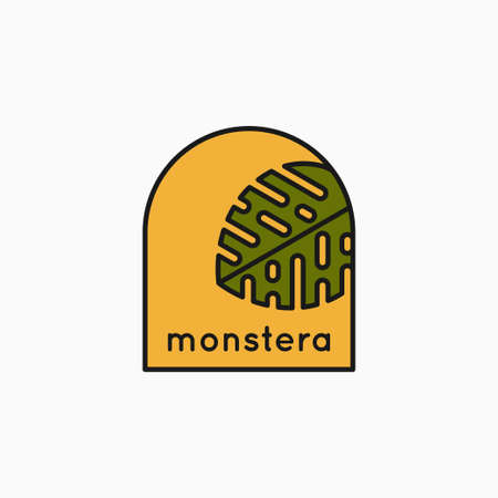 Tropical leaves linear  . Monstera leaves icon