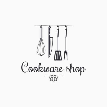 Cookware shop . Kitchen utensils on white Vecteurs