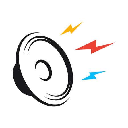 Loudspeaker black  on white design background