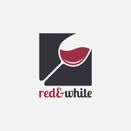 Wine glass logo. Red and white wine on white