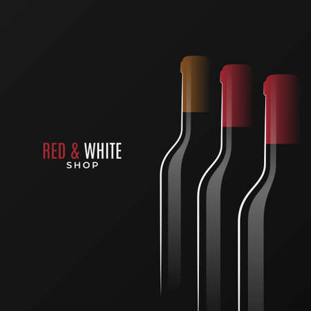 Wine shop  . Bottles of red and white wine