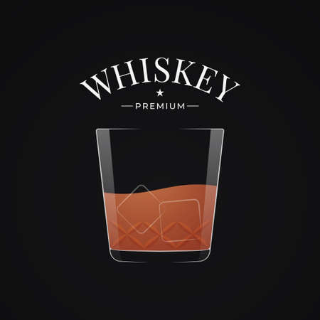 Whiskey glass label. Bourbon or whisky in glass
