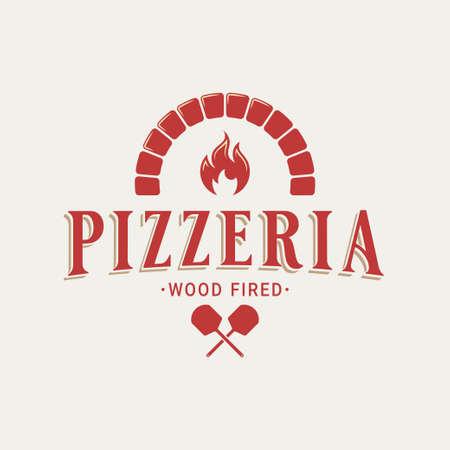 Pizzeria with oven shovel. Wood fired pizza Vektorgrafik