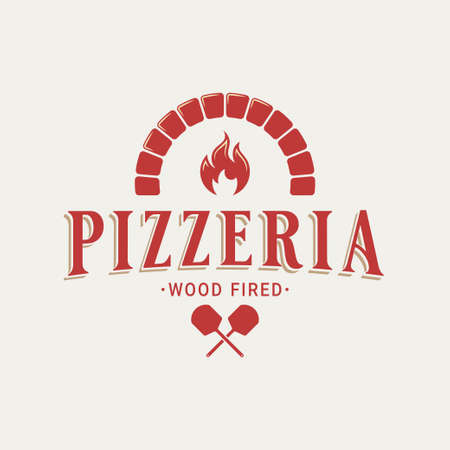 Pizzeria with oven shovel. Wood fired pizza